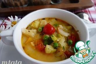 Суп летний овощной с плавленым сыром