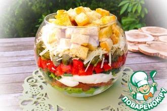 Слоеный салат с крутонами