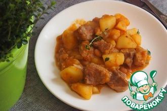 Картофельный гуляш со свининой и фасолью