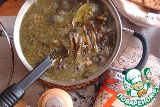 Суп с морской капустой и сайрой
