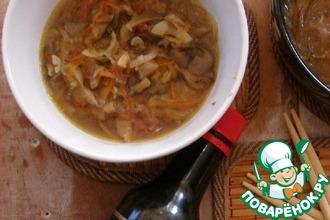 Суп с вешенками и фунчозой