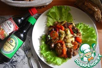 Тёплый салат с печёными овощами