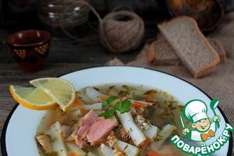 Суп с пшеном и лососем