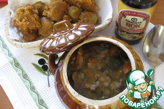 Гречневый суп с грибами в горшочках