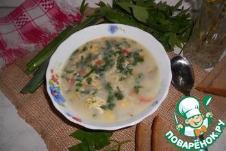 Дачный рисовый суп со снытью