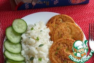 Рис с икорными оладьями