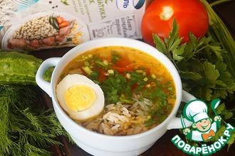 Овощной суп с рисом и курицей