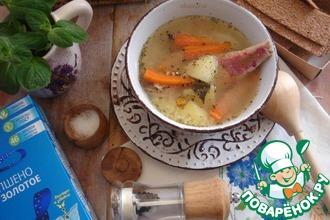 Густой рыбный суп с пшеном
