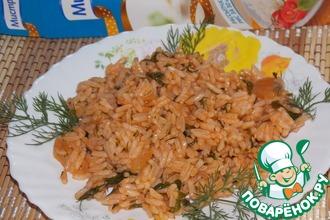 Рисовый гарнир с томатом и зеленью