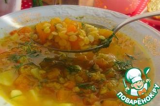 Тыквенно-томатный суп с чечевицей