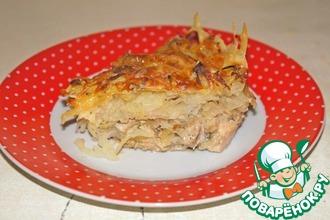 Запеканка из курицы под картофельной стружкой