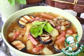 Картофельный суп с баклажанами-гриль
