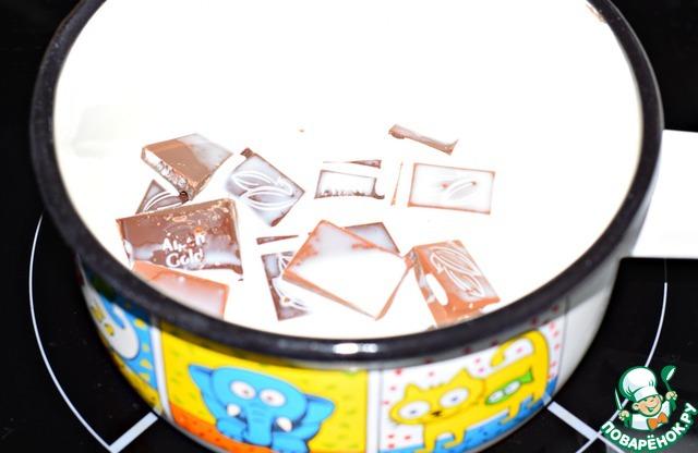 Шоколад поломать на кусочки, растопить его горячих в сливках, остудить.