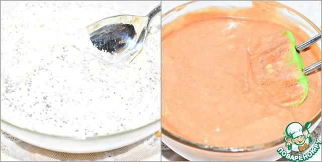 Разделить тесто на три равные части.    В первую добавить остывший уже шоколад. Перемешать до однородности. Во вторую - сухой мак. (перемешать)