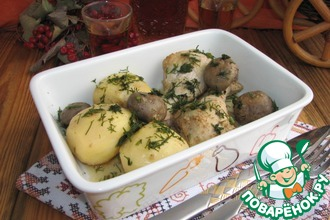 Курица с шампиньонами и картофелем