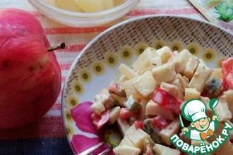Салат с курицей, яблоком и ананасом