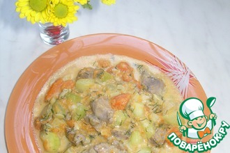 Свинина с овощами в чесночно-сметанном соусе