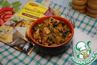 Теплый куриный салат с баклажанами