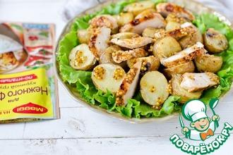 Теплый салат из курицы и картофеля