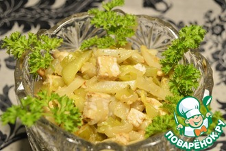 Тёплый салат с топинамбуром и курицей