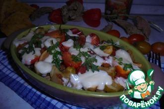 Цельнозерновая паста с овощами и моцареллой