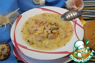 Тихоокеанский суп с морепродуктами и тунцом