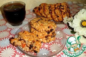 Овсяно-кокосовое печенье с сухофруктами