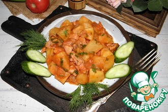 Картофель, тушенный с копченым мясом