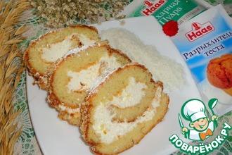 Рулет с творожно-кокосовым кремом