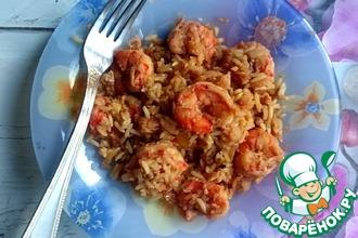 Рис с креветками и треской