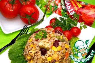 Перловка с овощами и курицей