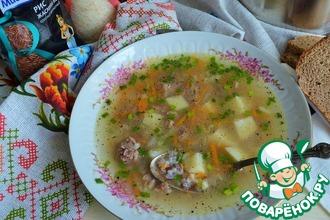 Суп рисовый на гусином бульоне