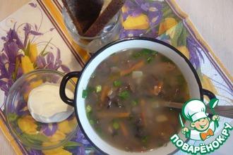 Суп грибной с фасолью и овощами