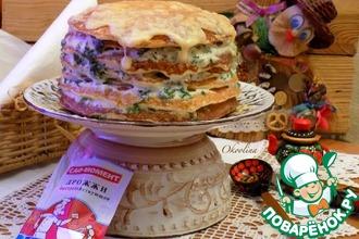 Блинный пирог с двумя сырами