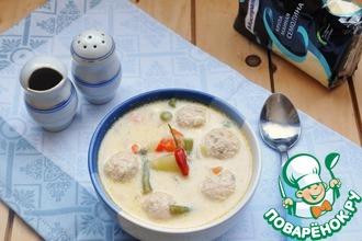 Сырный суп с овощами и фрикадельками