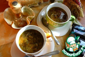Чечевичный суп с вялеными шампиньонами