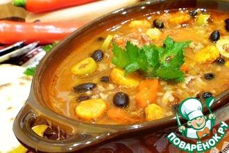 Мексиканский суп с рисом и фасолью