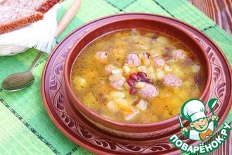 Домашний суп с фрикадельками и фасолью
