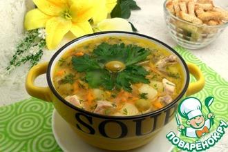 Оливковый суп с манной крупой