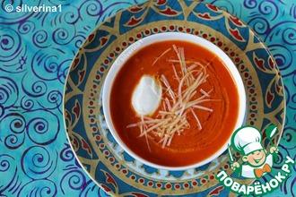 Томатный суп с нутом и моцареллой