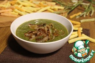 Гороховый суп-пюре с карамельным луком