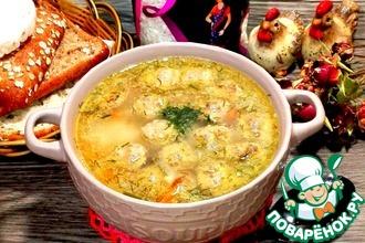Суп с рисом и куриными фрикадельками