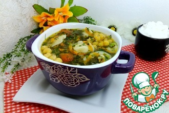 Щавелевый суп с нутом и пельменями