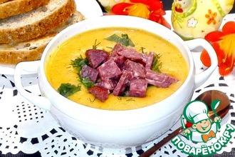 Чечевичный крем-суп с колбасой