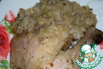 Курица, запеченная с рисом и вином