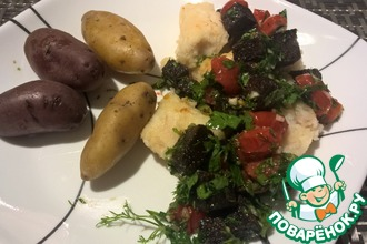 Треска со ржаным и овощным гарниром