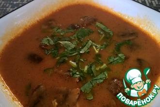 Суп из печеных перцев с грибами