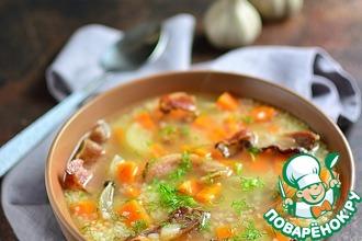 Суп с кускусом и копченой грудинкой
