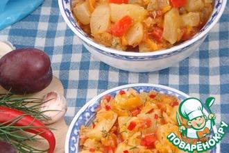 Тушеные кабачки с овощами и сливой