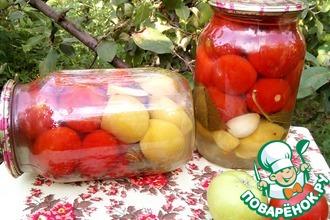 Маринованные помидоры с яблоками без уксуса